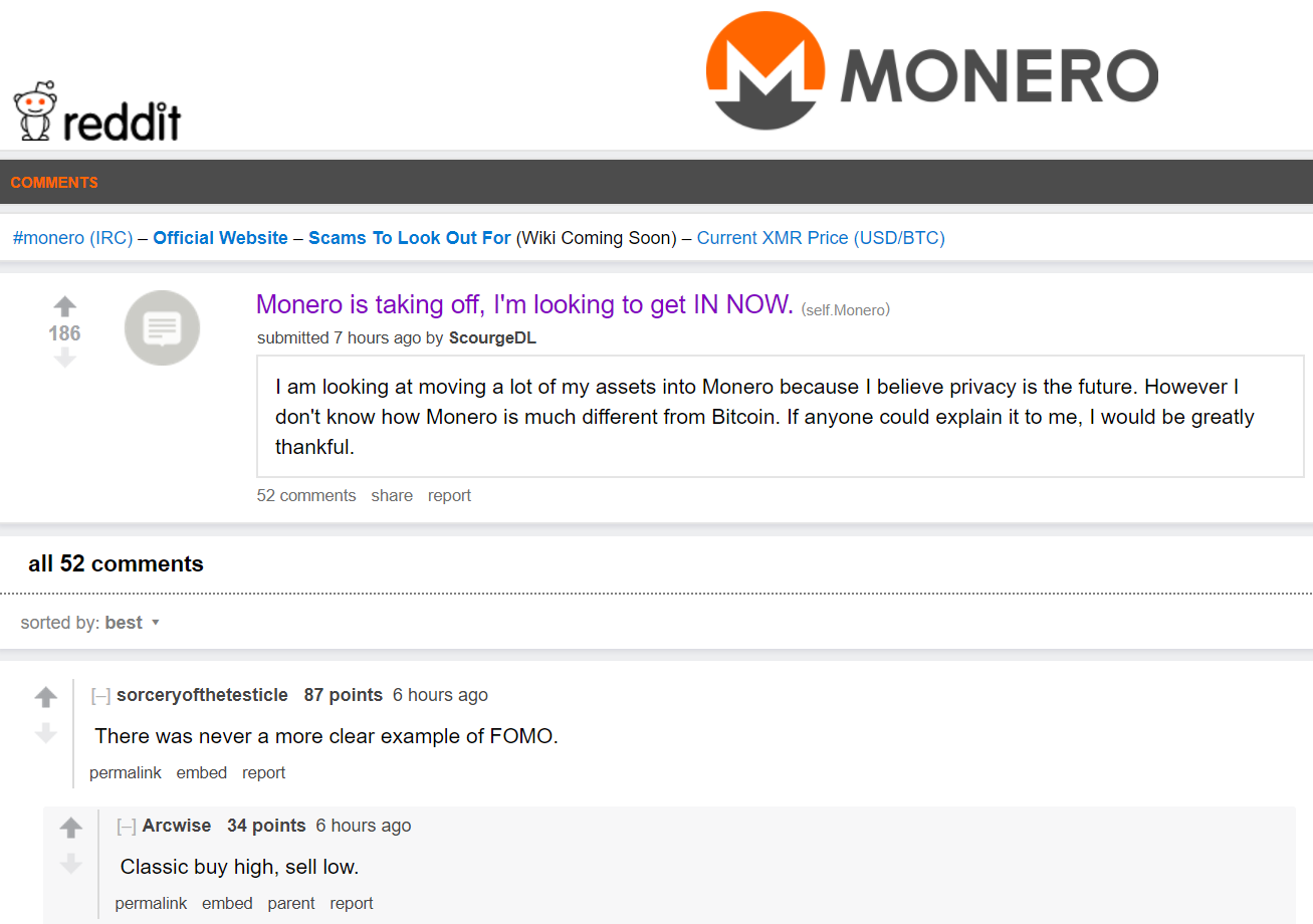 """Poster on the Monero subreddit saying """"Monero is taking off, I'm looking to get in now."""""""