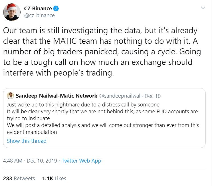 Binance CZ defends Matic Network