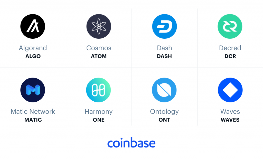 Coinbase to add Algorand, Cosmos,  Dash, Decred, Harmony, Ontology,  Waves and… Matic Network