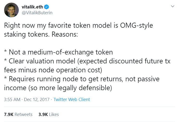 Vitalik Buterin tweets about OmiseGo