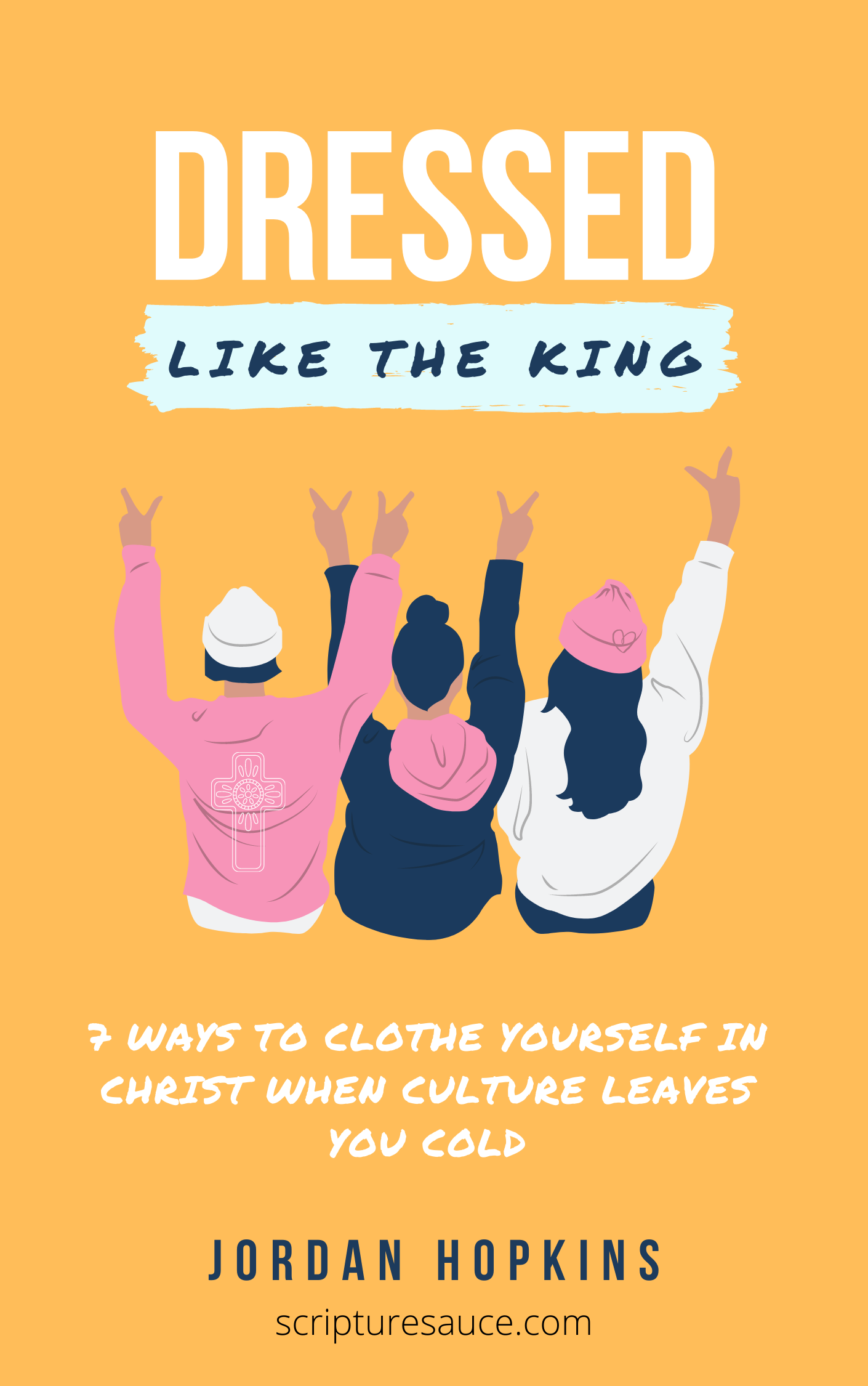 """Dressed Like the King"" Book Cover: bright orange with three women wearing casual clothing."