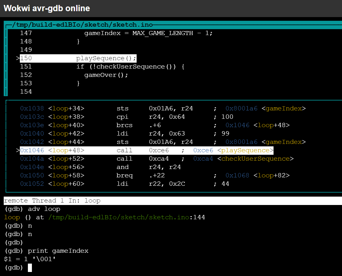 Arduino/AVR GDB Cheat Sheet