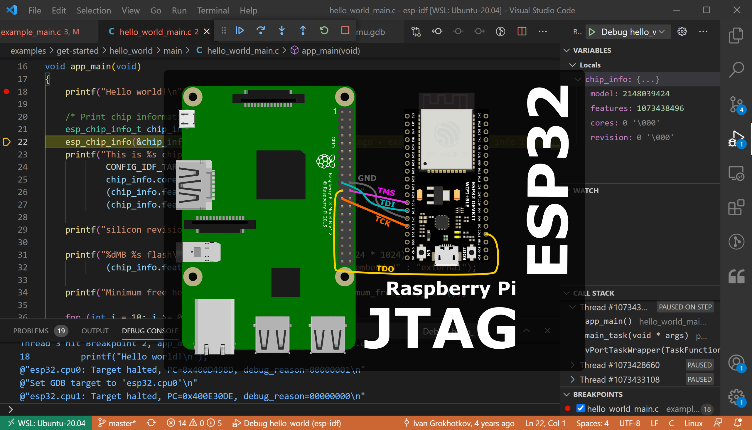 ESP32 JTAG Debugging using Raspberry Pi