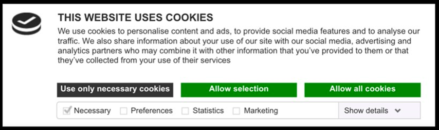 A cookie banner pop with a explanation paragraph and buttons to select cookie options