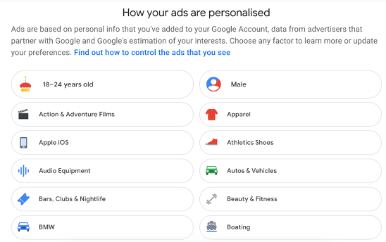 The advertising preference screen for a google user, includes a brief title and then followed by preference categories