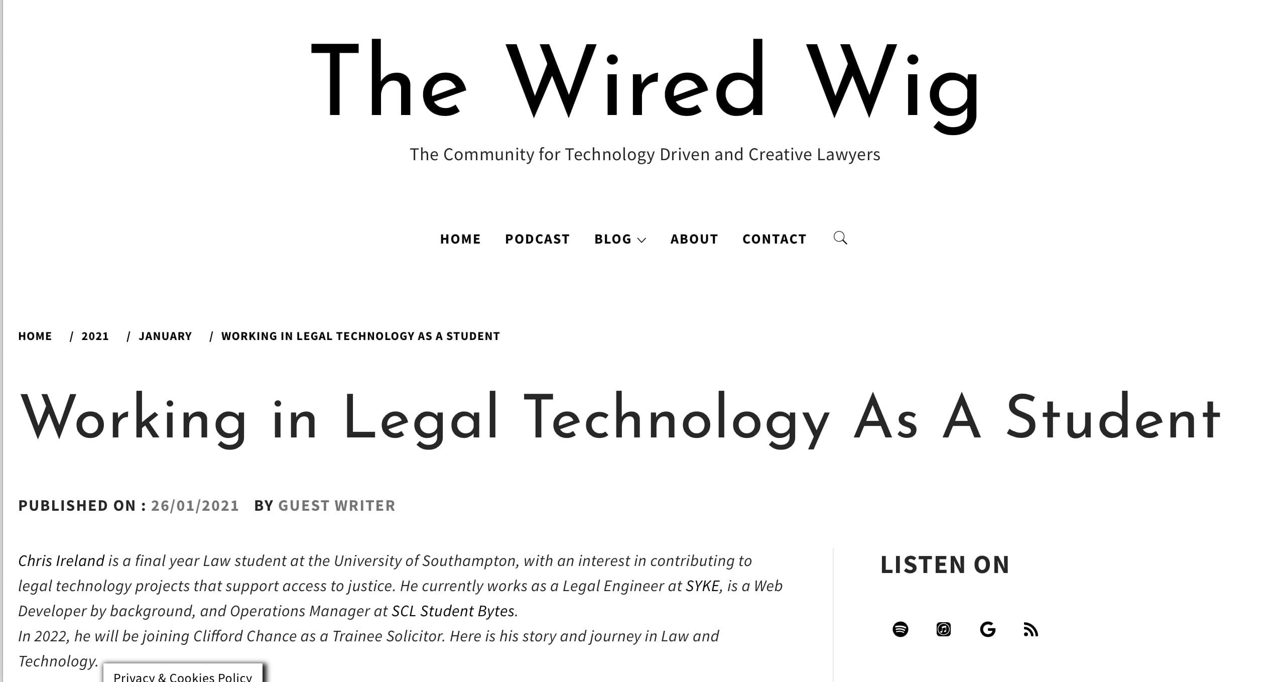 Working in Legal Technology as a Student Published in The Wired Wig