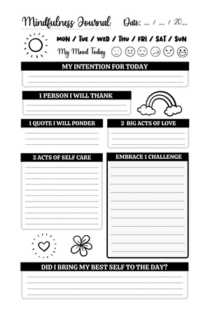 Mindfulness Journal (Printable, Customizable, for Mindfulness Based Professionals)