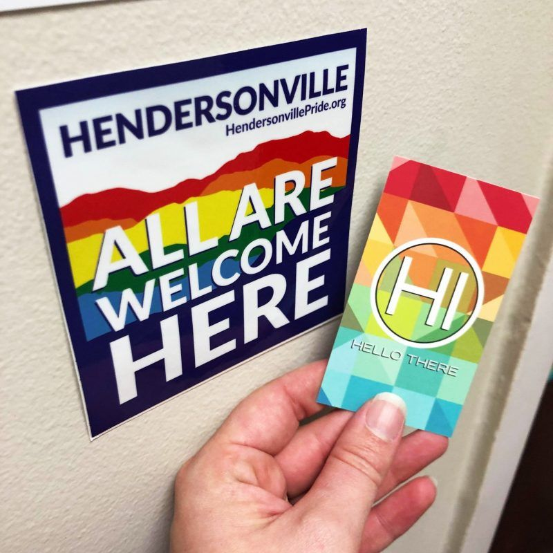 """Hendersonville Pride """"All Are Welcome Here"""" decals (C) Hendersonville Pride"""