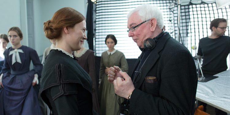 Emma Bell and Terence Davies on the set of A QUIET PASSION