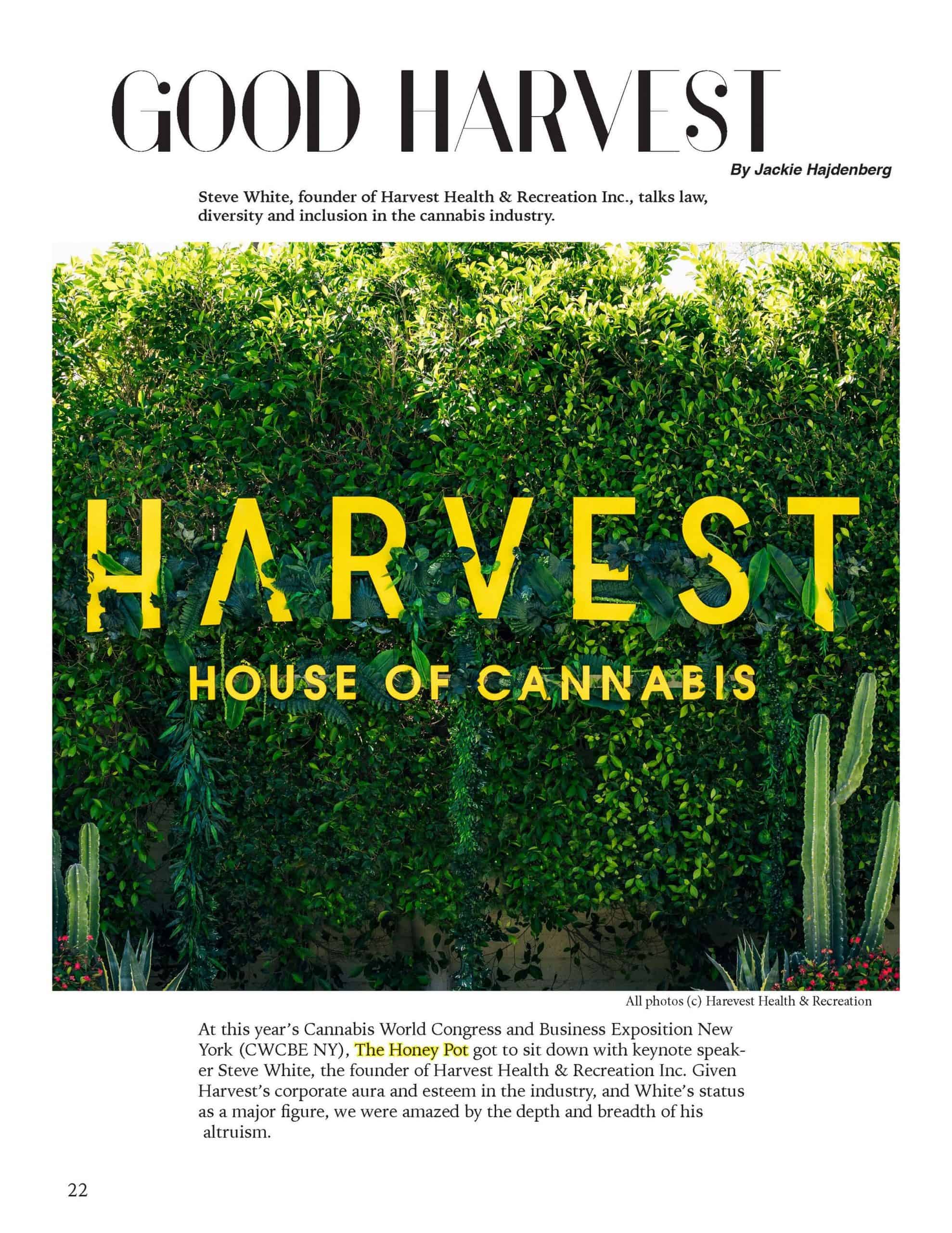 GOOD HARVEST: Steve White, founder of Harvest Health & Recreation Inc., talks law, diversity, and inclusion in the cannabis industry