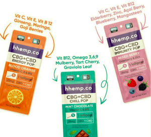 Three flavors of CBD lollipops; orange, mixed berry and chocolate mint.