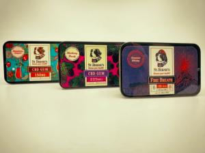 Three packs of CBD gum.
