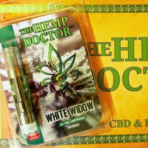 The Hemp Doctor white widow vape cartridge.