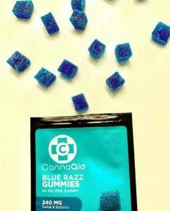 CannaAid blue razz gummies.