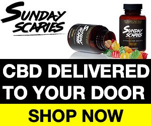A bottle of gummy bears spilt on its side and a bottle standing upright with the text underneath saying CBD delivered to your door, shop now.