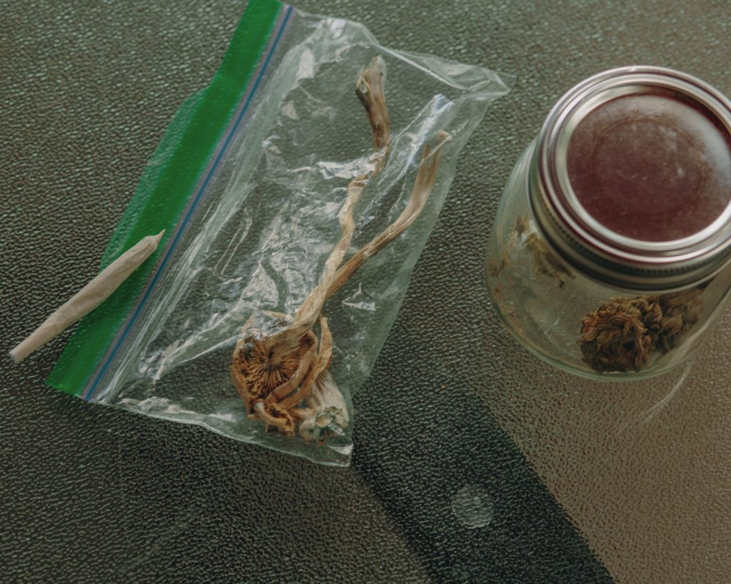 A bad of shrooms a blunt and some cannabis in a jar.